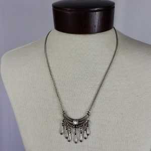 Boho Silver Tassel Necklace